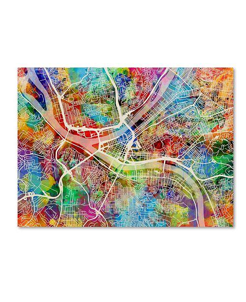 "Trademark Global Michael Tompsett 'Pittsburgh Pennsylvania Street Map IV' Canvas Art - 14"" x 19"""