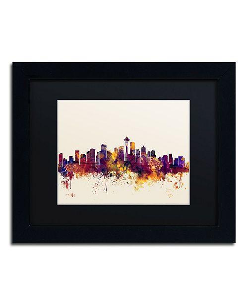 """Trademark Global Michael Tompsett 'Seattle Washington Skyline IV' Matted Framed Art - 11"""" x 14"""""""