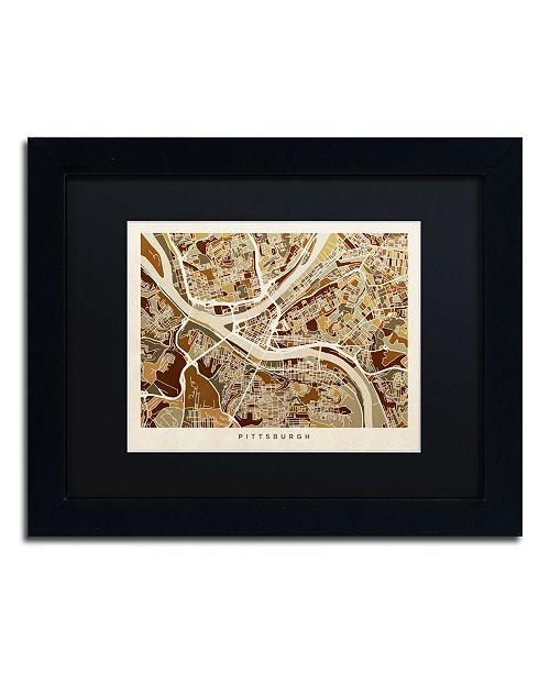 "Trademark Global Michael Tompsett 'Pittsburgh Street Map' Matted Framed Art - 11"" x 14"""