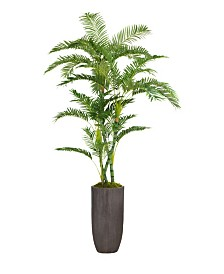 "Laura Ashley 86.25"" Tall Palm Tree Artificial Faux decor in Resin Planter"