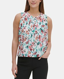 Calvin Klein Floral-Print Pleated Blouse