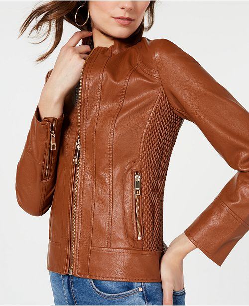 6db2a3f91 Front Zip Faux-Leather Jacket