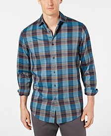 Men's Diliano Dobby Plaid Stretch Shirt, Created for Macy's