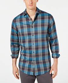 Tasso Elba Men's Diliano Dobby Plaid Stretch Shirt, Created for Macy's