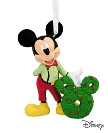 Disney Mickey Mouse With Wreath Christmas Ornament