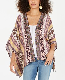 Style & Co Printed Embroidered-Trim Kimono Top, Created for Macy's