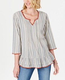 Style & Co Cotton Striped Ruffle Top, Created for Macy's