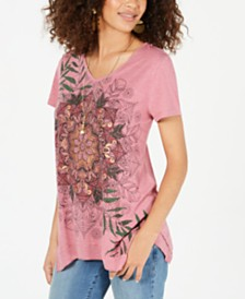 Style & Co Graphic Handkerchief-Hem Top, Created for Macy's