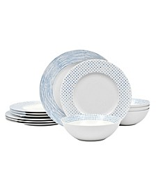 Hammock  Rim 12 Piece Dinnerware Set, Service for 4, Created for Macy's