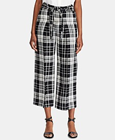 Plaid-Print Belted Wide-Leg Pants