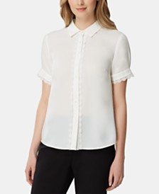 Tahari ASL Lace-Trim Short-Sleeve Blouse