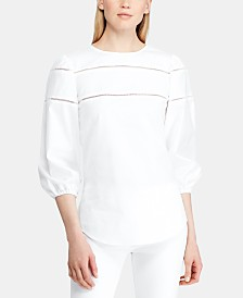 Lauren Ralph Lauren Ladder-Lace-Trim Cotton Shirt