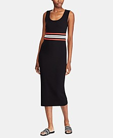Striped-Waist Ribbed Midi Dress