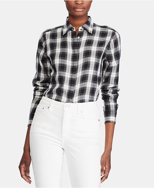 fa91660bbfa43 ... Lauren Ralph Lauren Plaid-Print Lightweight Button-Down Cotton Shirt ...