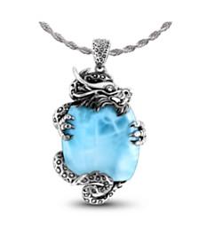 Marahlago Dragon Larimar Necklace in Sterling Silver