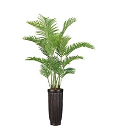 "92"" Real Touch Palm Tree in Fiberstone Planter"