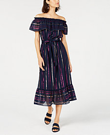 Maison Jules Off-The-Shoulder Metallic Striped Maxi Dress, Created For Macy's