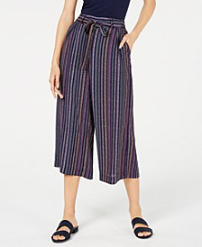 Striped Wide-Leg Tie-Front Capri Pants, Created For Macy's
