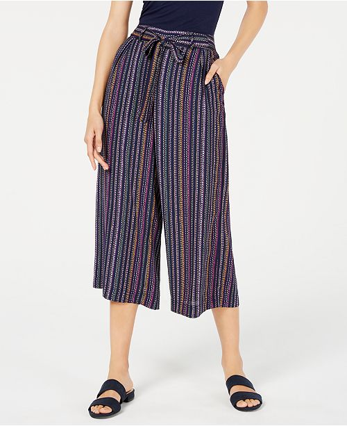 Maison Jules Striped Wide-Leg Tie-Front Capri Pants, Created for Macy's