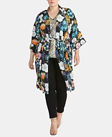 RACHEL Rachel Roy Trendy Plus Size Glenna Printed Kimono Jacket