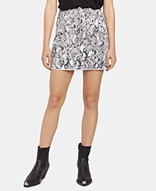 Snakeskin-Print Mini Skirt