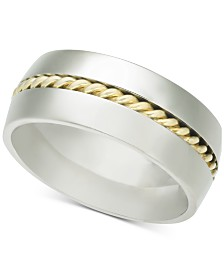 Men's Two-Tone Rope Band in Colbalt & Plated Silver