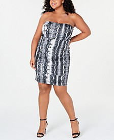 Trendy Plus Size Strapless Snake-Print Dress
