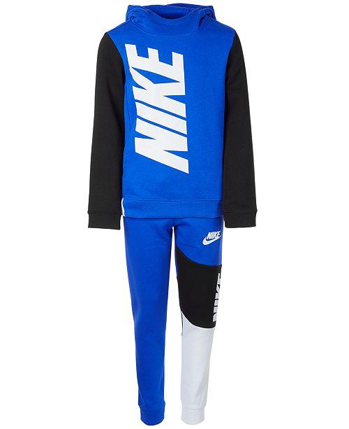 Nike Big Boys Blue Amplify Pullover Hoodie & Athletic Pants Separates