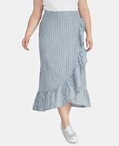 c923ccdae RACHEL Rachel Roy Trendy Plus Size Cotton Cruz Striped Skirt