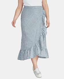 RACHEL Rachel Roy Trendy Plus Size Cotton Cruz Striped Skirt