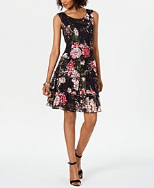 Connected Floral-Print Lace Fit & Flare Dress