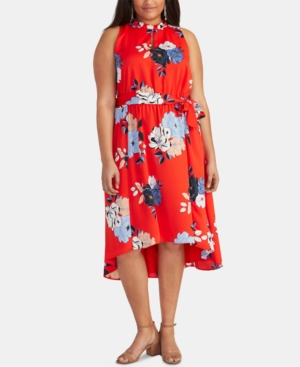 Trendy Plus Size Concetta Floral-Print High-Low Dress in Radiant Red Combo