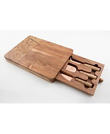 Thirstystone Marble & Wood Serve Board with 3-PC Cheese Knife Set