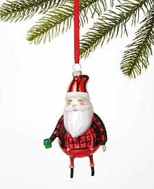 Christmas Cheer Glass Santa Ornament, Created for Macy's