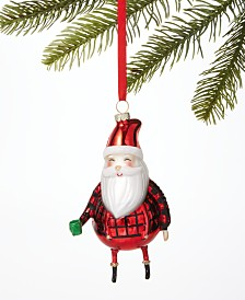 Holiday Lane Christmas Cheer Glass Santa Ornament, Created for Macy's