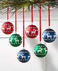 Christmas Cheer Set of 6 Shatterproof Red, Green, Blue Deer Pattern Ornaments, Created for Macy's