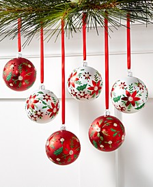 Christmas Cheer Set of 6 Shatterproof White and Red Flower Pattern Ornaments, Created for Macy's