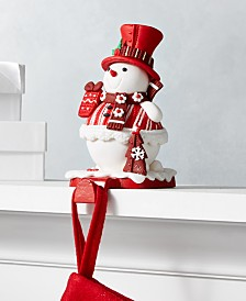Holiday Lane Christmas Cheer Red and White Snowman Stocking Holder, Created for Macy's
