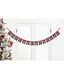"Christmas Cheer ""Peace, Love & Joy"" Tartan Plaid Garland, Created for Macy's"