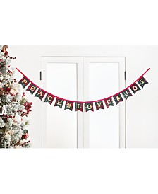 "Holiday Lane Christmas Cheer ""Peace, Love & Joy"" Tartan Plaid Garland, Created for Macy's"