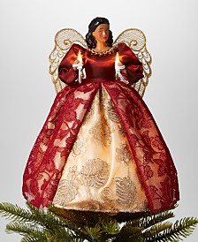 """Holiday Lane 14""""H African American Angel Christmas Tree Topper with LED lights in Burgundy Dress, Created for Macy's"""