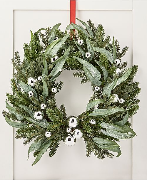 Silver Christmas Wreath.Silver Woods Artificial Christmas Wreath With Silver Ornaments Created For Macy S