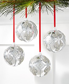 Shine Bright Shatterproof Silver Beaded Diamond-Pattern Ornaments, Set of 4, Created for Macy's