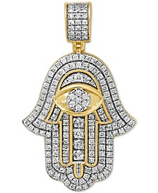 Diamond Hamsa Hand Pendant (1-1/10 ct. t.w.) in Sterling Silver & 14k Gold-Plate