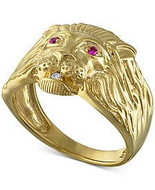 Ruby Accent & Diamond Accent Lion Ring in 14k Gold-Plated Sterling Silver