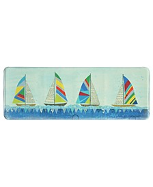"Rainbow Sailboats 20""x55"" Memory Foam Runner"