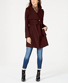 GUESS Asymmetrical Belted Wrap Coat, Created for Macy's