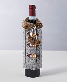 Holiday Lane Upstate Gray Wine Bottle Sleeve, Created for Macy's