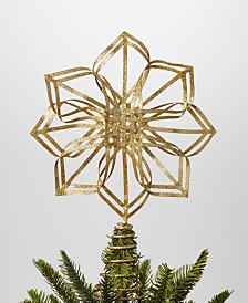 Holiday Lane Midnight Blue Gold Glitter Snowflake Tree Topper, Created for Macy's