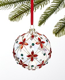 Renaissance Clear Glass Ball with red and green Gems, Created for Macy's